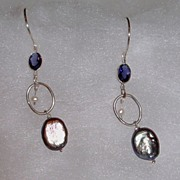 Sterling Silver Iolite and FW Peacock Coin Pearls Earrings