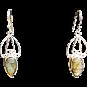 SOLD Sterling Silver Rainbow Labradorite Etruscan Style Earrings - Custom Order