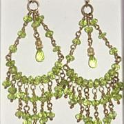 SALE 14k Gold Filled Peridot Chandeliers - Earrings