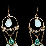 SOLD 14kt gold-filled Peruvian Opal and Apatite Chandeliers - earrings