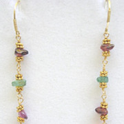 Gold Filled Pink Peruvian Opal and Tourmaline Nugget Earrings