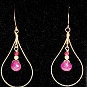 SALE 14kt Gold-filled Ruby earrings