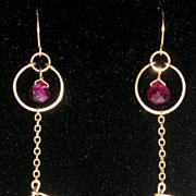 Ringed Tourmaline and Lavender Quartz Earrings