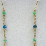 14kt gold Tsavorite briolettes with Apatites and Emeralds - Earrings