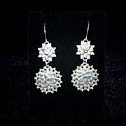 Sterling Silver Sand Cast Sunflower & White Topaz Earrings