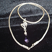 Sterling and Fine Silver  Ametrine Filigree Heart Necklace