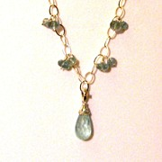 Sterling Silver Aquamarine Pendant and  - Necklace