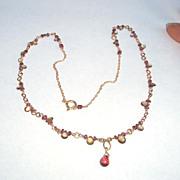 14Kt Gold, Color Change Garnet Briolette Necklace