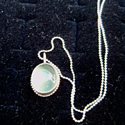 Sterling Silver Prehnite Cabochon Beaded Necklace