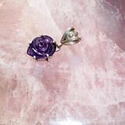 Sterling Silver Carved Rose Amethyst - Pendant