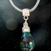 Sterling Silver Peacock Green Amethyst Briolette - Pendant