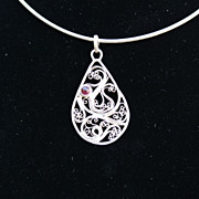 Sterling and Fine Silver Filigree Tear Drop Ruby Pendant