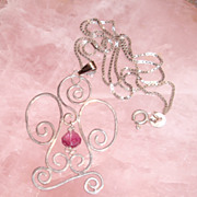 Sterling Silver Angel Pendant with Tourmaline Drop