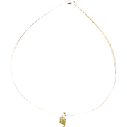 Sterling Silver Trapezoidal Tourmaline Pendent
