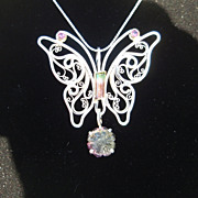 Sterling and Fine Silver and 22kt Gold Tourmaline Butterfly Pendant