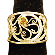 Sterling & fine Silver Filigree Red Diamond Ring