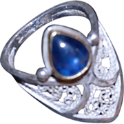 """""""Moghul Archer"""" Sterling,Fine Silver & 22KT Gold Sapphire ring"""