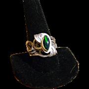 Sterling & Fine Silver & 22KT Gold Black Opal Ring