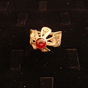 Sterling and Fine Silver Filigree Ruby Flower Ring
