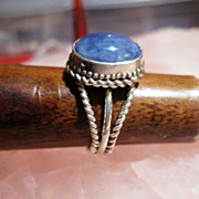 Sterling Silver Sapphire Cabochon - Ring