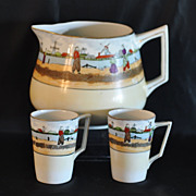 SALE Antique Lemonade/Cider Pitcher With 2 Cups Hand Painted with Dutch Scene