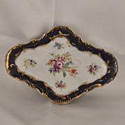 Porcelain Pin Tray Hand Painted with Flowers, Gold Gilt and Cobalt Background