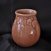 SALE Rookwood Vase #2122 Dated 1950 Tan Glaze with Three Dimensional Designs of Rosehips