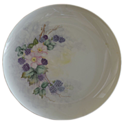 SALE Hand Painted Large Charger Decorated with Blackberries and Primroses Artist Signed