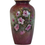 Lovely Art Nouveau Hand Painted Large Vase Beautifully Decorated with Pink Flowers Artist ...