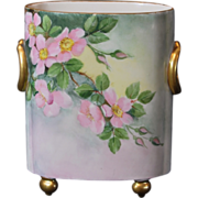SALE William Guerin Limoges France Hand Painted Cache Pot/Vase with Pink Primroses