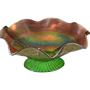 SOLD Northwood Green and Gold Rainbow Carnival Glass Ruffled Pedestal Compote Bowl in Leaf and