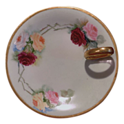 Limoges Ring Handle Lemon Server with Hand Painted Roses and Gold Trim