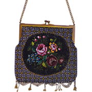 SALE Micro Beaded Art Nouveau Purse with Floral Bouquet Oval Medallion Centerpiece