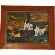 SOLD Charming Oil Painting of Two Puppies and Three Ducklings Artist Signed Dated 1946