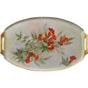 SALE Elegant Hand Painted Vanity/Dresser Tray with Lovely Orange Flowers and Gold Trim