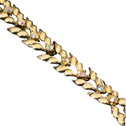 Vintage Bracelet with White Enameled Leaves and Aurora Borealis Rhinestones
