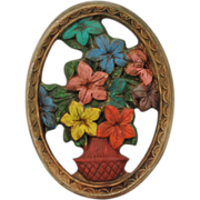 Vintage Multicolored Floral Chalk Ware/Plaster Oval Wall Hanging