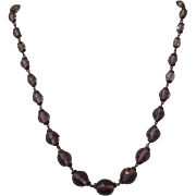 Art Deco Light Amethyst Highly Faceted Crystal Glass Beaded Necklace