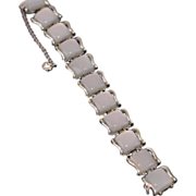 SALE Coro White Moonglow Thermoset Lucite and Silver Bracelet
