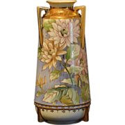 SALE Nippon Hand Painted Urn Vase Decorated with Flowers and Gold Gilding