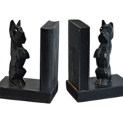 Cute Hand Carved Black Scottie Wood Bookends