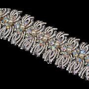 Coro Sparkling Silver Bracelet with Aurora Borealis Rhinestones and Faux Pearls