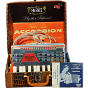 Vintage Toy Emenee Golden Piano Accordion with Original Case and Instructions Number 405