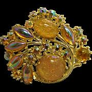 Coro Gold Confetti Lucite with Aurora Borealis Cabochon and Round Rhinestone Pin