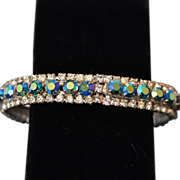 SALE Vintage Hinged Clamper Silver Oval Bracelet with Aurora Borealis and White Crystal ...
