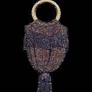 SALE Carnival Glass Multicolored Beaded 19th Century Reticule Purse