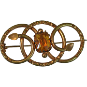 Lovely Victorian Engraved Love Knot Pin/Brooch with Large Faceted Yellow Topaz Crystal Stone