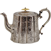 SOLD Very Ornately Engraved EPBM Silverplated Teapot Turn of the Century