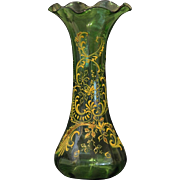 "Victorian 11"" Tall Hand Blown Green Glass Fluted Vase with Hand Painted Gold Enamel Floral ."