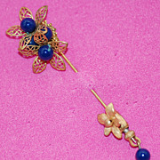 SALE Very Rare MIRIAM HASKELL Cobalt  Blue Russian Gold Gilt Stick Pin/ Lapel Pin